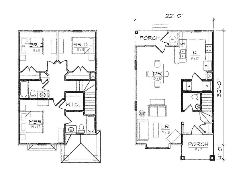 2 Floor House Plan Design For Narrow Land - 4 Home Ideas