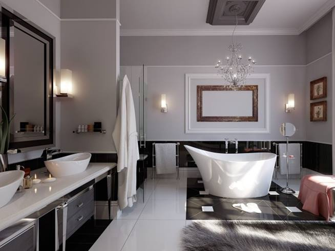 Black White Minimalist Bathroom Ceramic Color