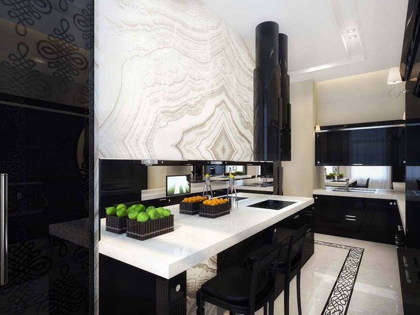 Black White Modern Kitchen Decorating Idea