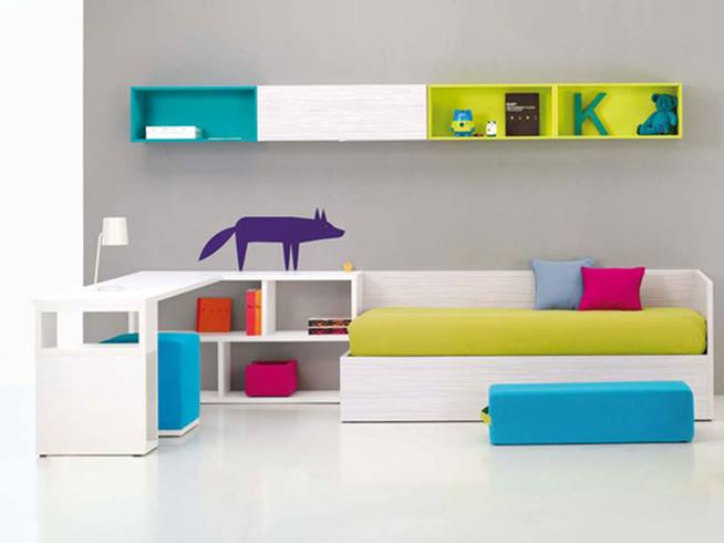 Children Bedroom Design With Colorful Furniture
