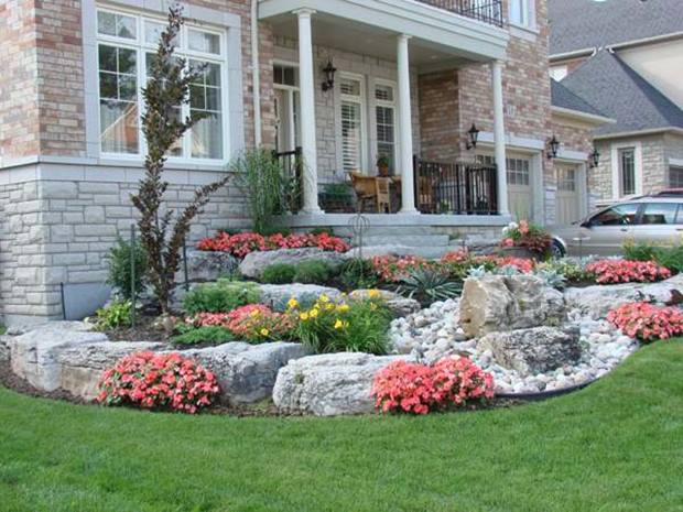 Colorful Front Yard Garden Design