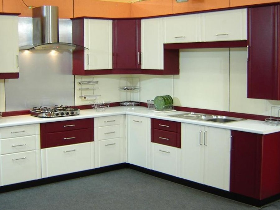 Elegant red white modular kitchen idea latest interior for Latest kitchen cabinets