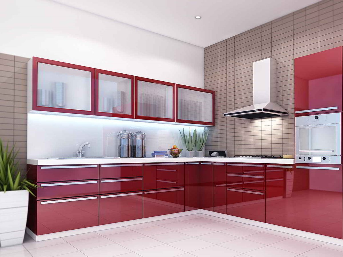 Modular kitchen designs red white for How to create a kitchen