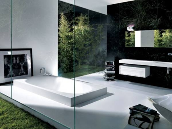 Luxury Black White Minimalist Bathroom Ceramic