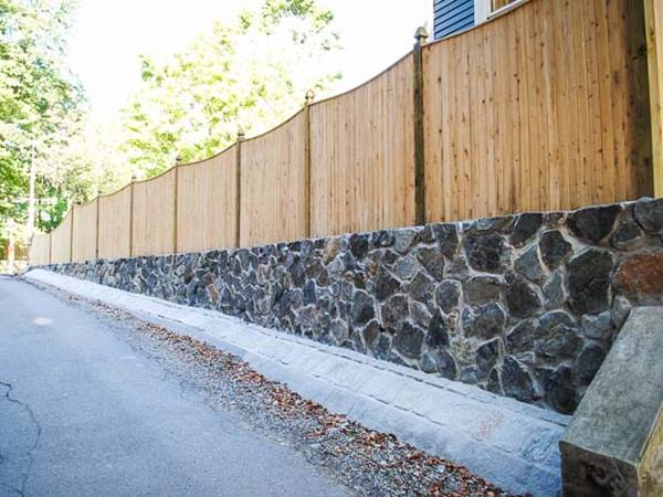 Mix Wood And Natural Stone Fence