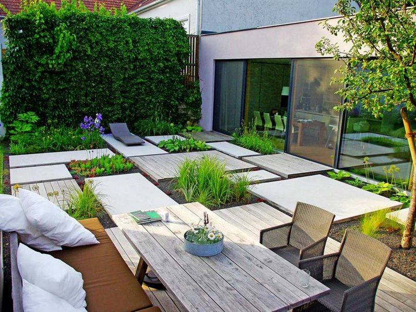 Modern backyard garden design idea 4 home ideas Modern front garden ideas uk