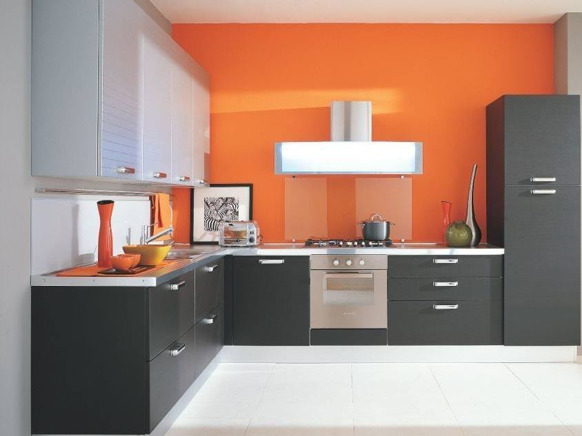 Orange Gray Minimalist Kitchen Color Combination