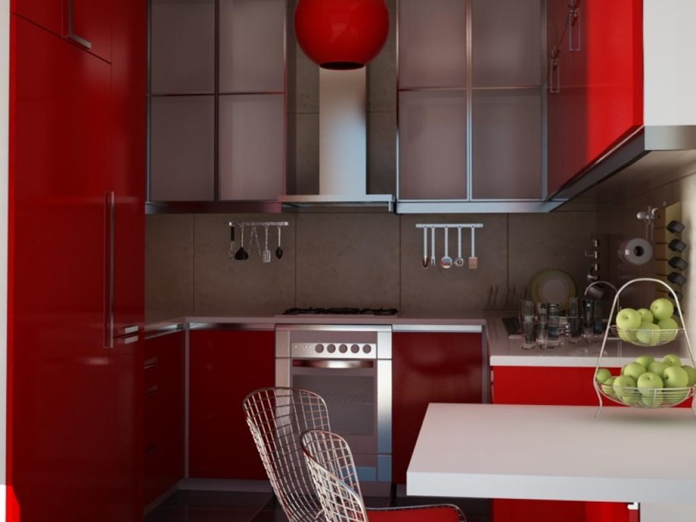 Red White Modern Kitchen Color