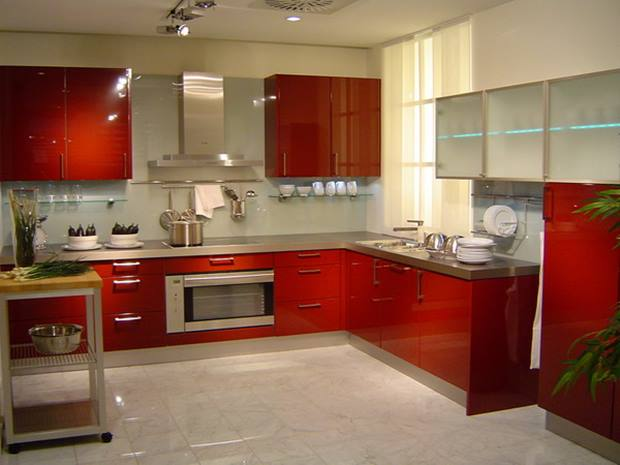 Red White Modern Kitchen Decoration
