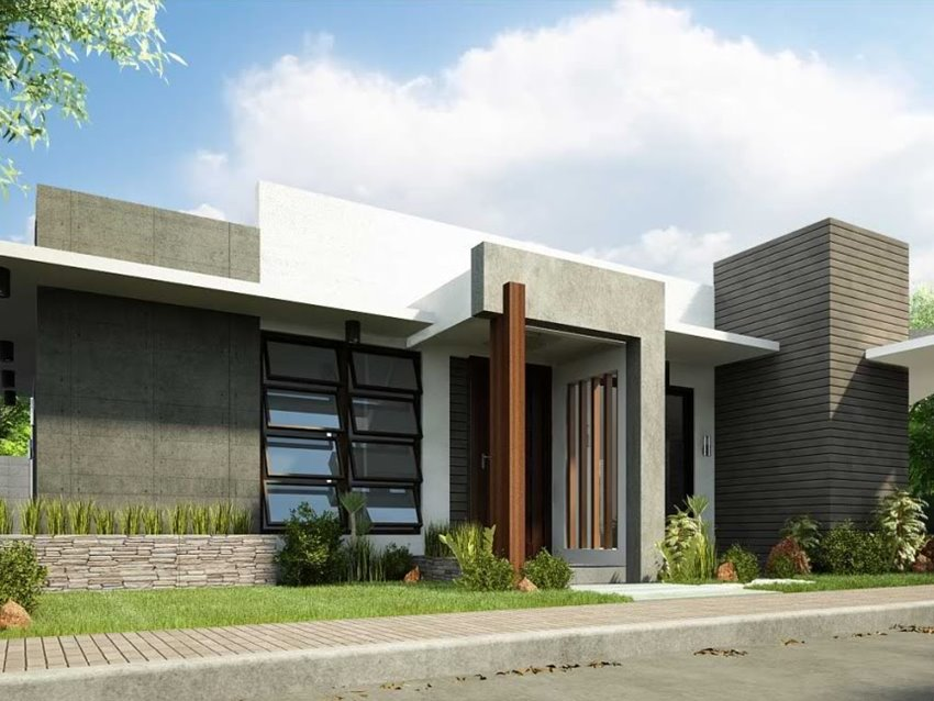 Simple modern house architecture with minimalist design for Modern single floor house designs