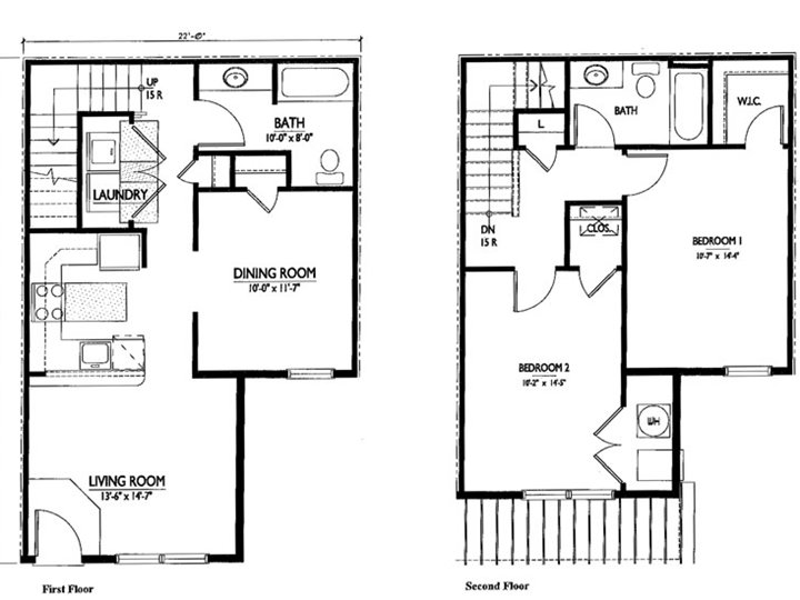 Minimalist house plan design for small area 4 home ideas for Two story condo floor plans
