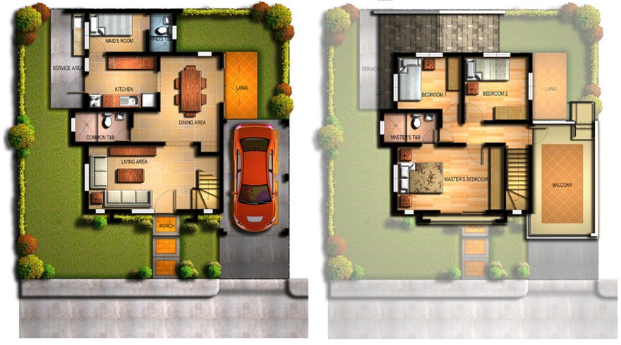 2 Storey Home Plan For Narrow Land - 4 Home Ideas