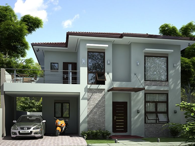 Simple modern house architecture with minimalist design for Simple two storey house design