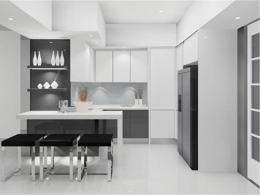 Black And White Minimalist Kitchen Organization