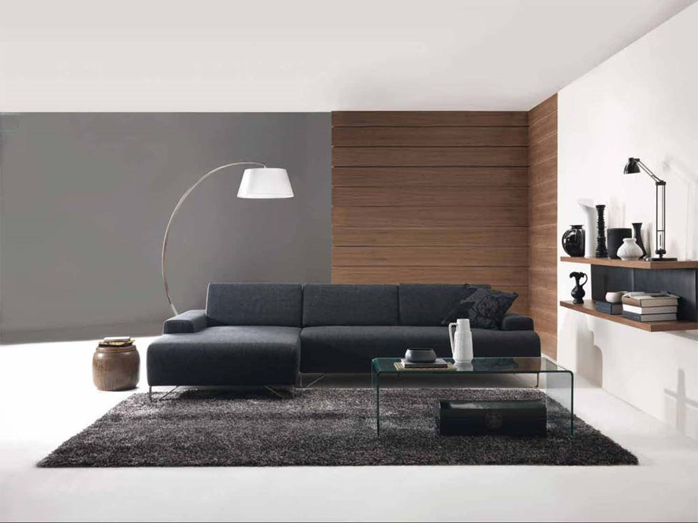 Black Leather Sofa For Living Room