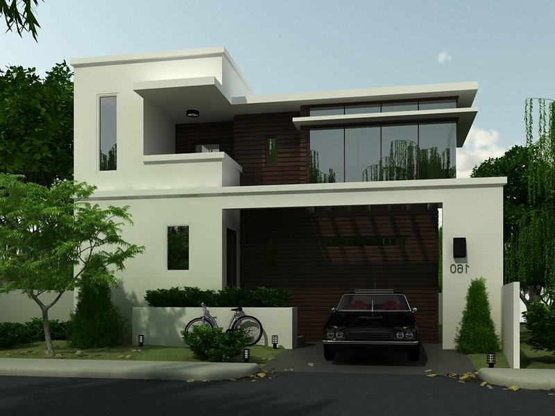 Simple modern house architecture with minimalist design for Black home design