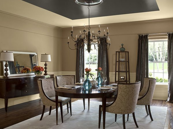 Great Dining Room Design With Neutral Paint Part 12