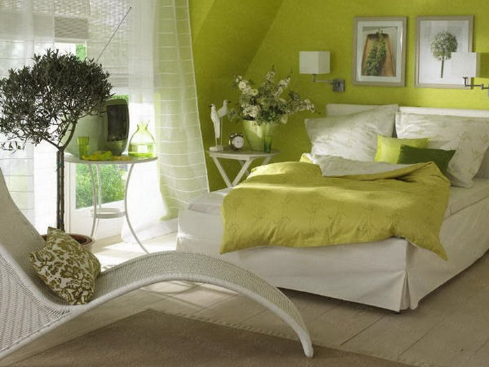 Fresh Green Bedroom Paint Color Scheme
