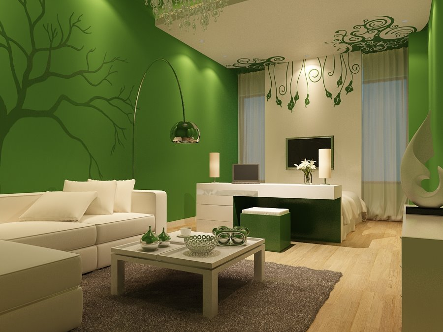 Fresh Green Living Room Wall Paint