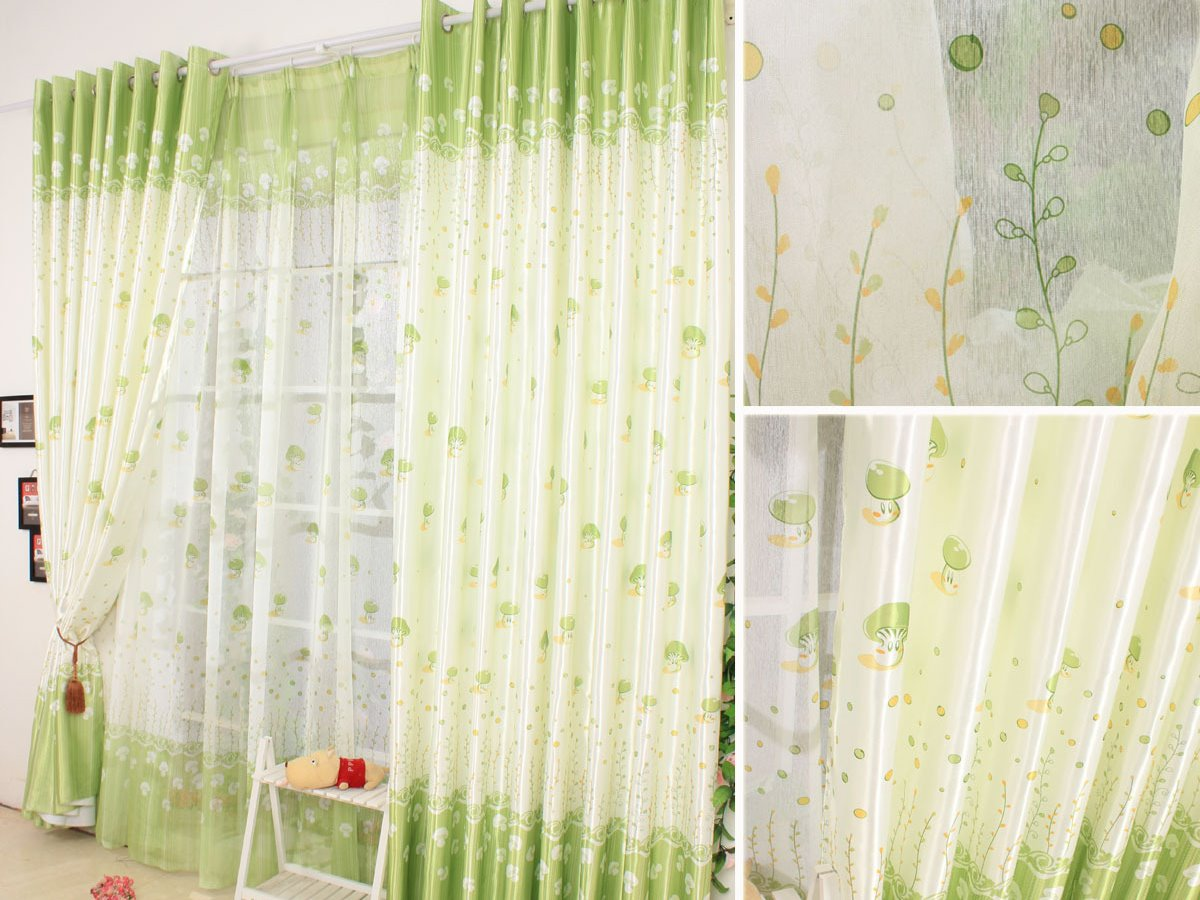 Green White Beautiful Curtain Design