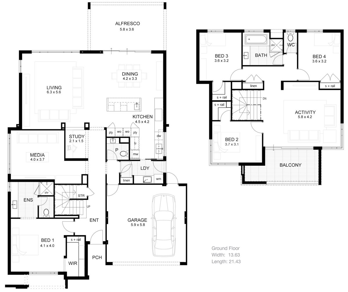 Pictures of 2 storey modern minimalist house plan 4 home for Minimalist home design floor plans