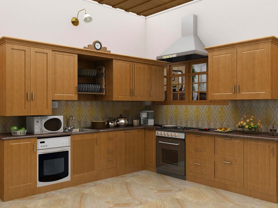 Modular Kitchen With Wooden Cabinet