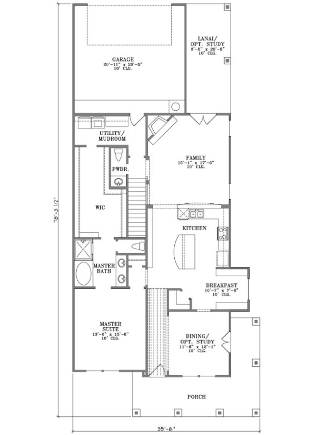 Narrow Home Plan With Minimalist Design