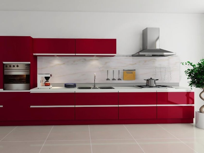 Red Cabinet For Modular Kitchen