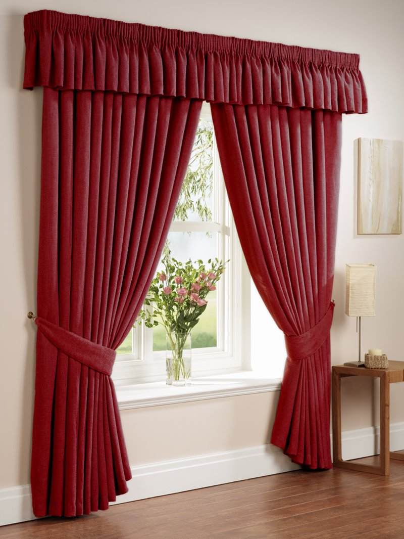 Red curtain design for minimalist window 4 home ideas for Household design curtain road