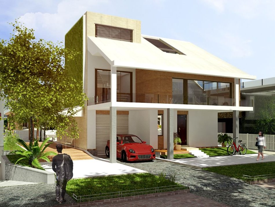 Simple modern house architecture with minimalist design for Architecture design for home in rajkot