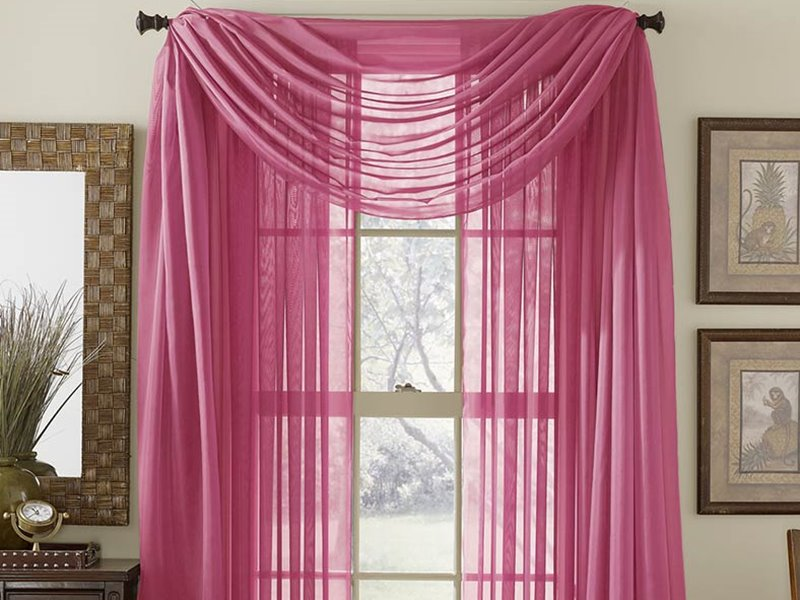 Transparant Beautiful Pink Curtain For Home Decor