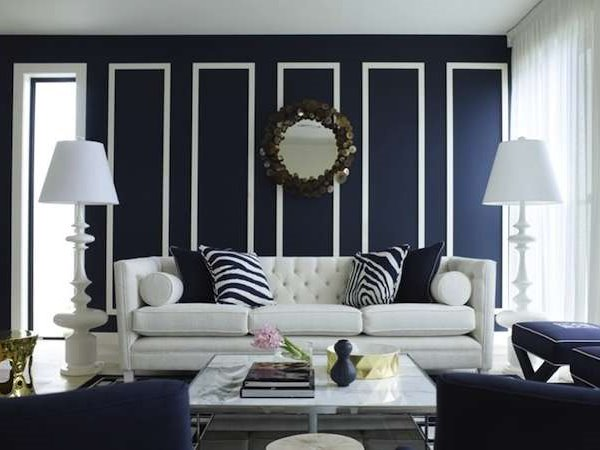 White Furniture For Blue Living Room