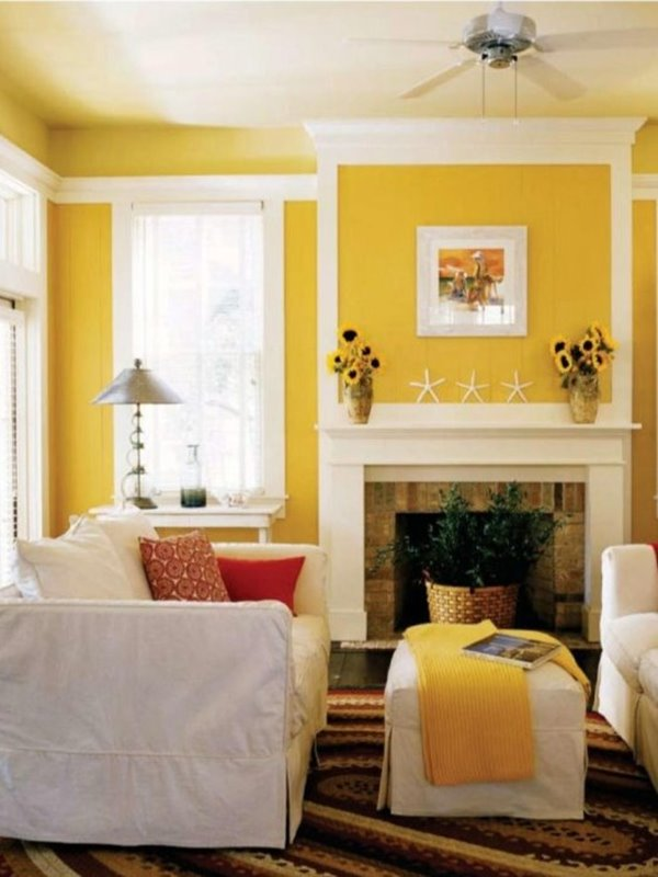 Yellow White Living Room Color Scheme