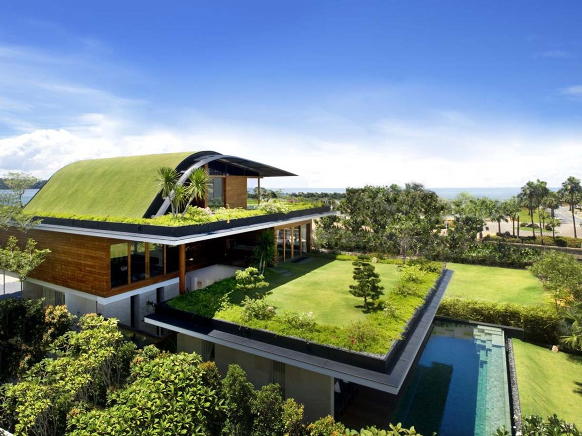 Beautiful green roof design for modern house 4 home ideas for Home design ideas singapore
