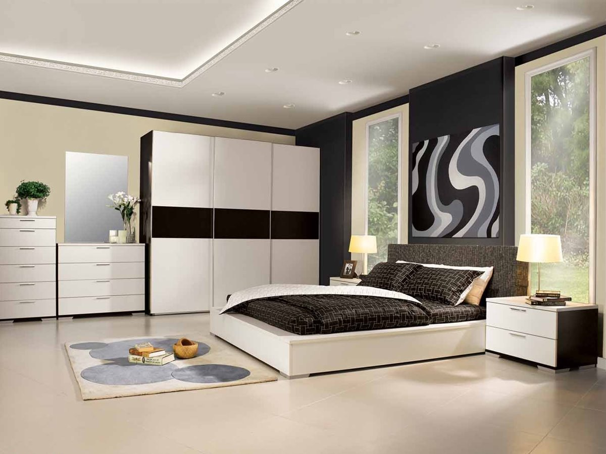 Black White Luxury Bedroom Wardrobe Color
