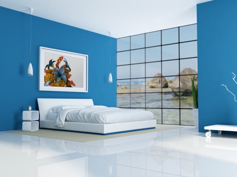 Calm Blue White Bedroom Paint