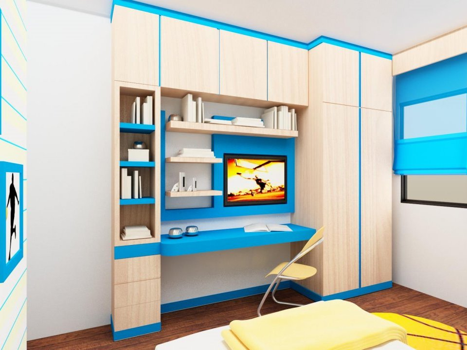 Colorful Kids Bedroom Design With Desk