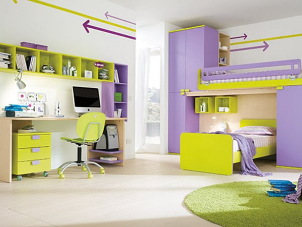 Colorful Kids Bedroom Desk Design