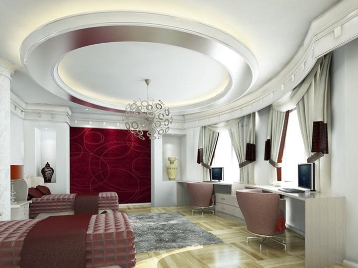 Decorative White Ceiling Design For Luxury House