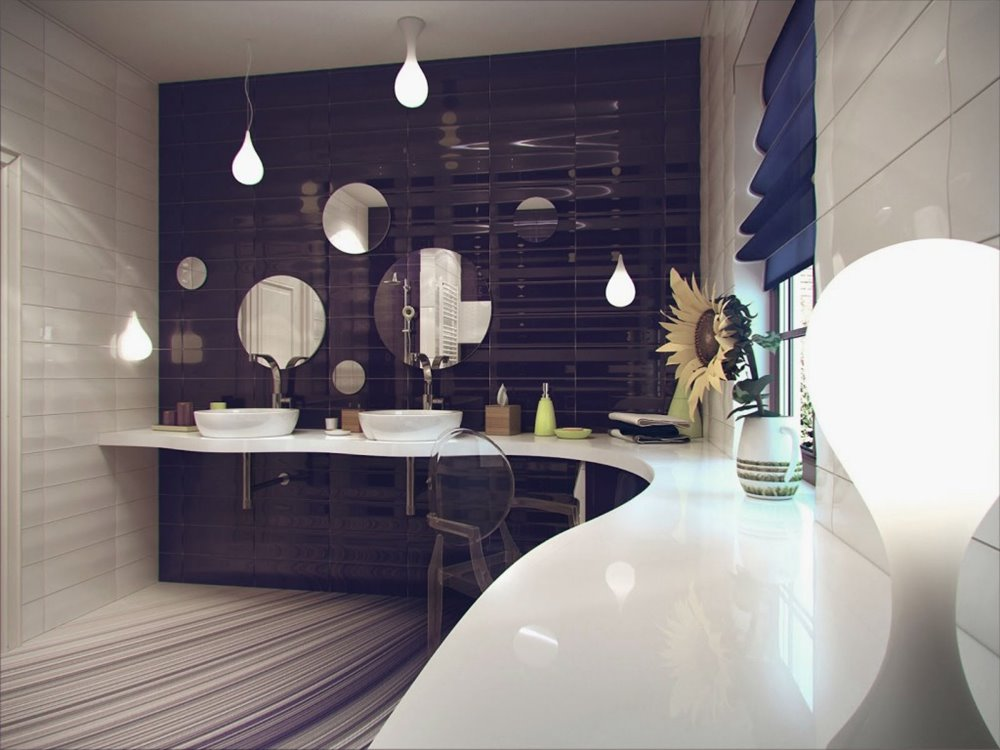 Elegant Beautiful Purple White Bathroom Ceramic
