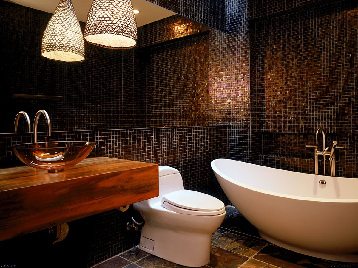 Elegant Black Bathroom Ceramic Pattern