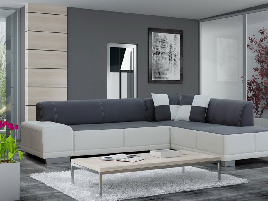 Gray And White Living Room Sofa