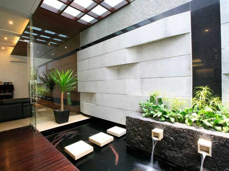 Minimalist fish pond ideas to create luxury landscape for Koi pond in house