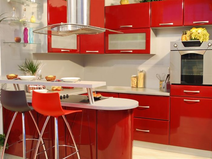 Red White Color Combination For Luxury Kitchen