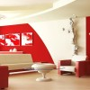Red White Modern Living Room Colors