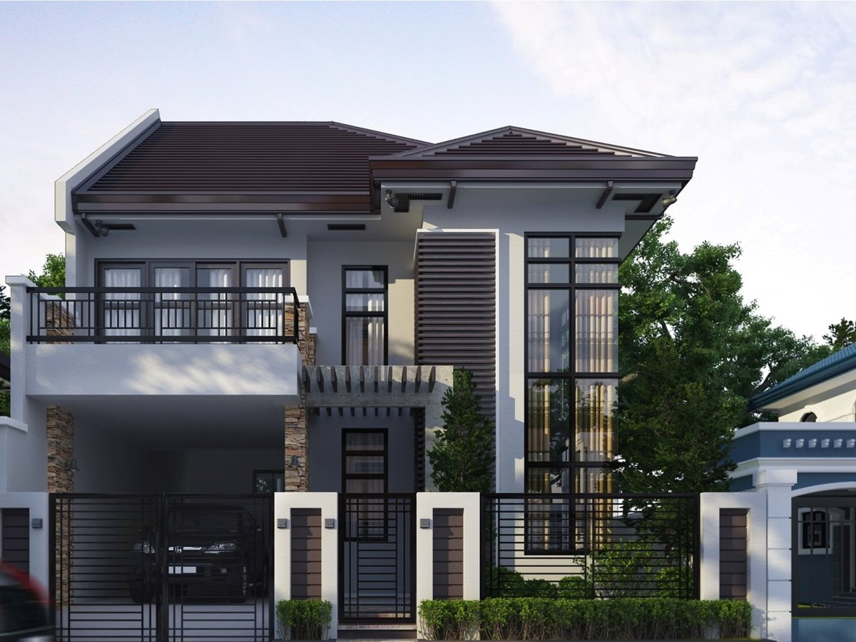 2 storey home with simple minimalist design 4 home ideas for Simple modern two story house design