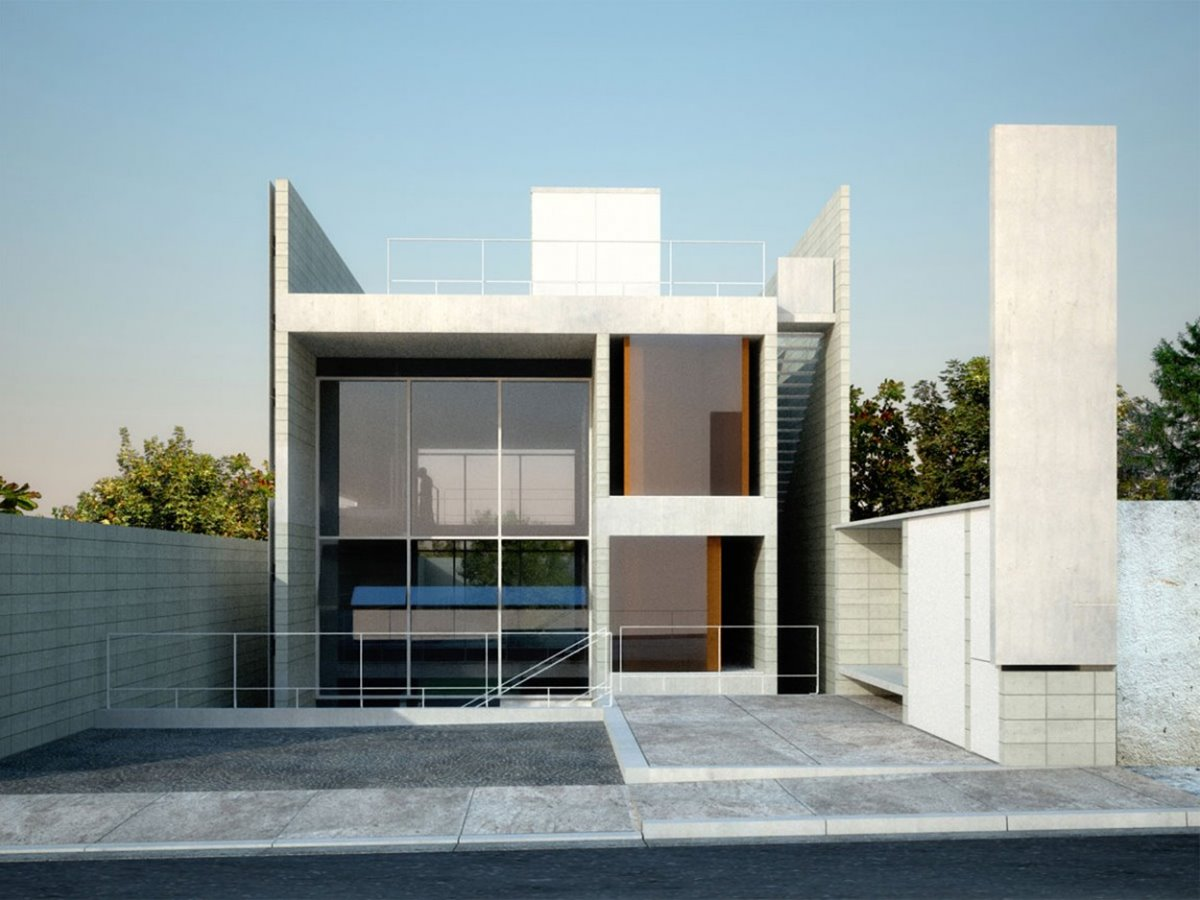 Simple modern house architecture with minimalist style 4 for Simple house exterior design