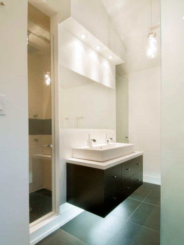 Small bathroom interior with modern design 4 home ideas for Minimalist small bathroom design