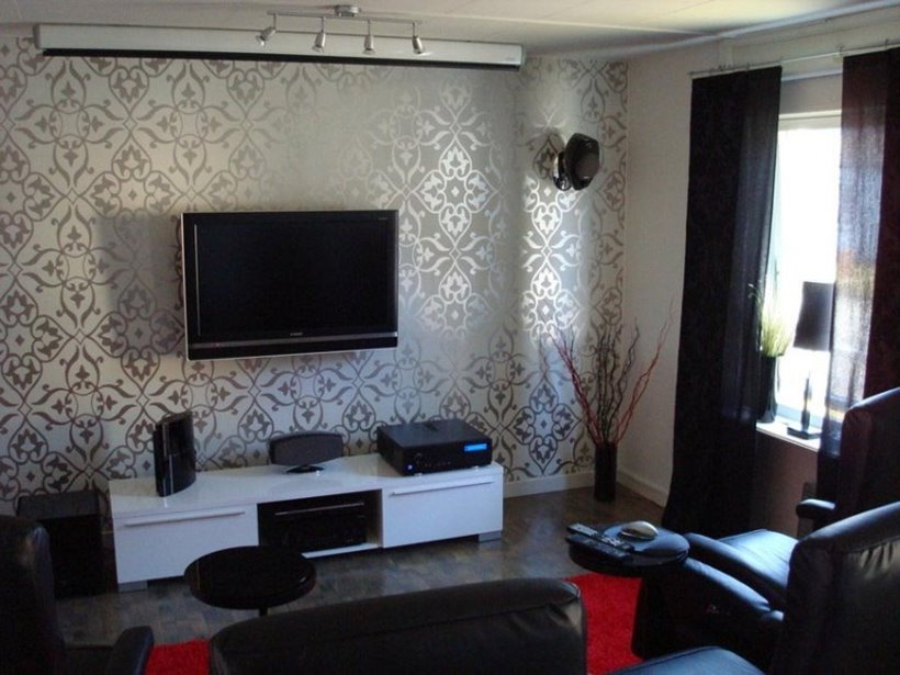 Basement living room wallpaper ideas 4 home ideas for Front room feature wallpaper