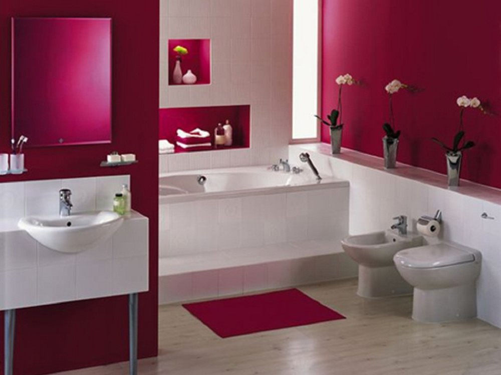 Beautiful Pink White Minimalist Bathroom Colors